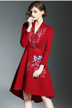 2017 Hot quality design dresses embroidery women's fashion spring slim flower red dress girls dinner nice elegant dress L #L125