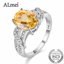 Almei 2.2CT Yellow Citrine 925 Sterling Silver Wedding Engagemant Rings Fine Jewelry for Women Made of Natural Stones 49% FJ003
