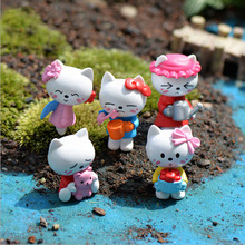 5pcs Kawaii Hello Kitty Figurine Dollhouse Decor Miniatures Bonsai Terrarium Gnomes Zakka Girl Toys Resin Craft Home Decoration