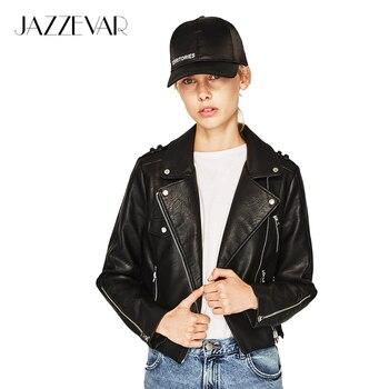 Jazzevar 2017 resorte de alta de la calle de moda de las mujeres lavada pu chaqueta de cuero corta cremallera colores brillantes nuevas señoras chaquetas básicas