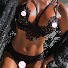 Buy Lace Sexy Bra Set Push Corset Lace Flower Bralette Panties Lingerie Set 2018 Plus Size 5XL Transparent Women Underwear Sets