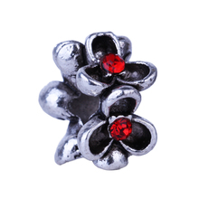 1Pc European Red Rhinestone Three Leaves Flower Charm Silver Beads DIY Alloy Bead Fit Pandora BIAGI Bracelets Bangles(China)
