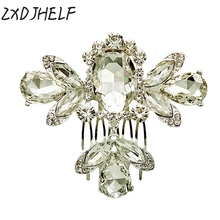 ZXDJHELF Simulated Pearl Bridal Wedding Crystal Hair Accessories Leaf Girls Hair Combs Hairpin Party Headwear For Women F020