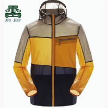 AFS JEEP 2017 Summer sun screen Hooded Summer Jacket,Casual Patchwork Light portable breathe skin clothe for Man,Brand jacket(China)