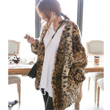 Boyfriend V neck Hairy Shaggy Leopard Faux Mink Fur Jackets Winter Woman Raglan Lantern Sleeve Loose Faux Fur Coat Outerwear(China)