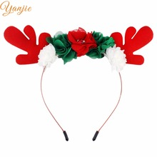 2017 Hot-sale Christmas Women Girl Deer Antlers Flower Felt Pads Hairbands 2017 DIY Hair Accessories For Kids Party Celebration(China)