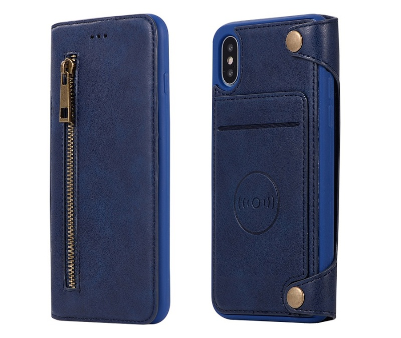 blue genuine leather flip cover case for iPhone x luxury card cover