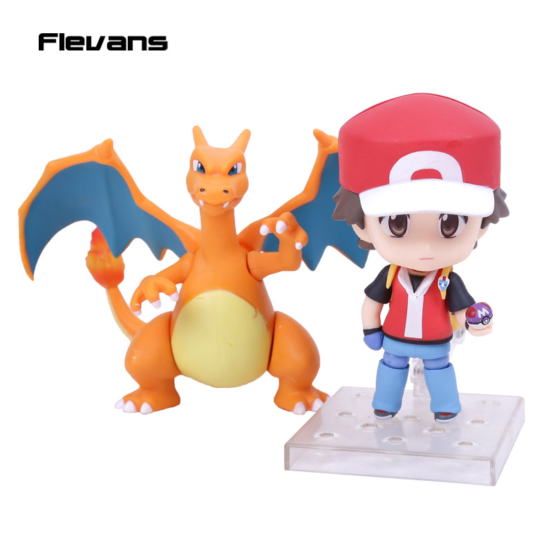 Monster Go Trainer Red:Champion Ver.#425a Ash Ketchum &amp; Charizard &amp; Venusaur &amp; Blastoise PVC Action Figure Collectible Model Toy<br><br>Aliexpress