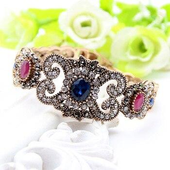Exquisite Turkish Resin Flower Folding Bracelet Bangle Adjustable Women Vintage Bangle Antique Gold Color Wedding Jewelry Cuff