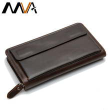 MVA Genuine Leather Wallets Phone Men's Leather Wallets Long Wallet Clutch Male Purse Money Clip Wallet Fashion Cash Carteira(China)