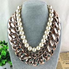 statement necklace women fashion jewelry chain chunky collier sautoir long simulated pearl pendant necklace trendy collares(China)