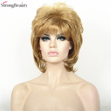 Strong Beauty Synthetic Hair Short Straight Wigs Women Full Capless Wig
