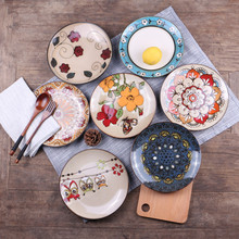 Ceramics creative freehand sketching western steak plate dinner Plates animals pattern dish food tray Christmas gift 1pcs(China)