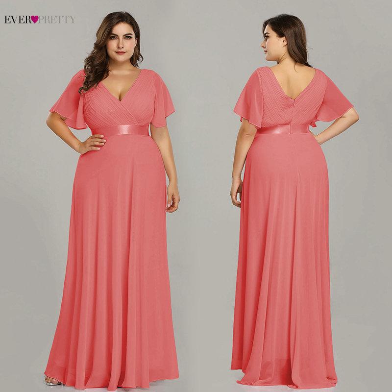 Plus Size Evening Dresses Elegant V-Neck Ruffles Chiffon Formal Evening Gown Party Dress Robe De Soiree 2020 - plus-size-dresses, dresses