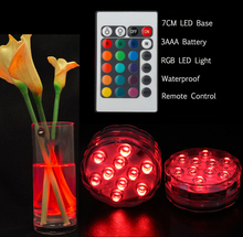 3AAA Battery Operated Special Flower Shape LED Light 50PCS Remote RGB Changing Electronic Candle Glass Vase Base Lighting(China)