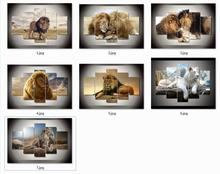 Multiple choices Unframed 5 Pieces Wall Art Animals Lion Painting by Numbers Modern Wall Art Living Room Decoration Print Canvas