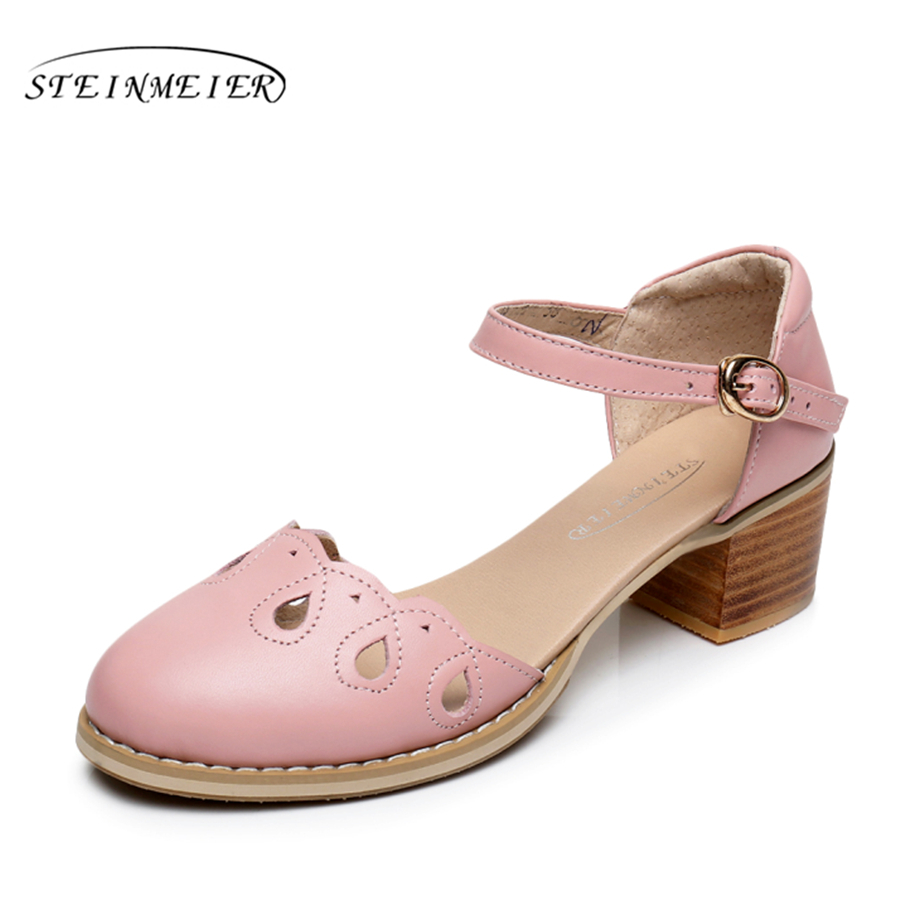 2017 Genuine leather pump shoe US size 9 Handmade pink beig buckle strap sandals British Institute of style oxford shoes<br>