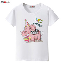 BGtomato Happy Birthday elephant printing t shirts lovely cartoon shirt for women 100% good quality brand casual tops