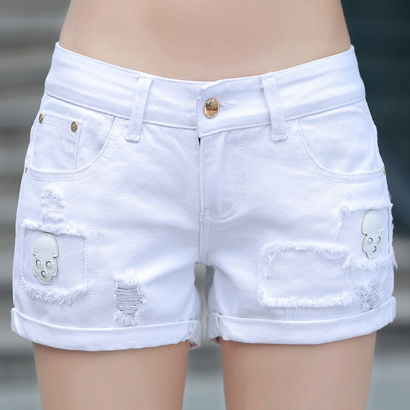 Summer Women Whit Denim Shorts Skeleton Ripped Hole Vintage Short Jeans Pants  Plus Size White Shorts Sexy Lady Denim ShortsОдежда и ак�е��уары<br><br><br>Aliexpress