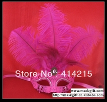 48 Pcs Free Shipping Wholesale Hot Pink Venetian Style Rhinestone Feather Masquerade Mask For Ball