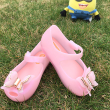 15-18cm Summer girls Sandals Mini Melissa Shoes Bow Princess Jelly kids Sandals Children Beach Shoes Cute Girl Sandals Sapato