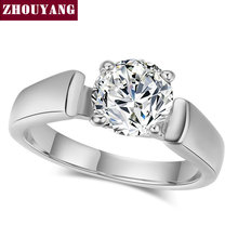ZHOUYANG Top Quality ZYR053 Classic Cubic Zirconia Wedding Ring With 4 Prongs Silver Color Austrian Crystals Full Size Wholesale