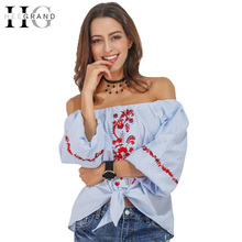 HEE GRAND 2017 Summer Women Floral Embroidery Tees Sexy Slash Neck Puff Sleeve Blue Shirt Women Lace Up Basic Tops WTS1213(China)