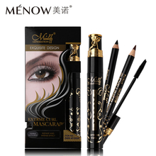 3pcs/set Menow Makeup Brand Waterproof Mascara Kit Extrme Curl Mascara + Black & Brown Eye Liner Pencil Make Up Set