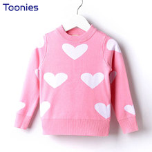 2017 Winter Girls Sweater Children's Top Knitting Round Neck Loog Sleeve Lovely Big Baby Sweater Cotton Thick Pull Garcon(China)
