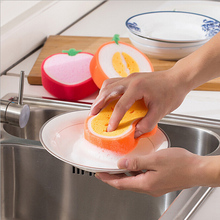 Scouring Pad Sponge Dish Towel Sponge Fruit Shape Thicken Microfiber Cloth Kitchen Cleaning Towels Dishcloth Decontamination
