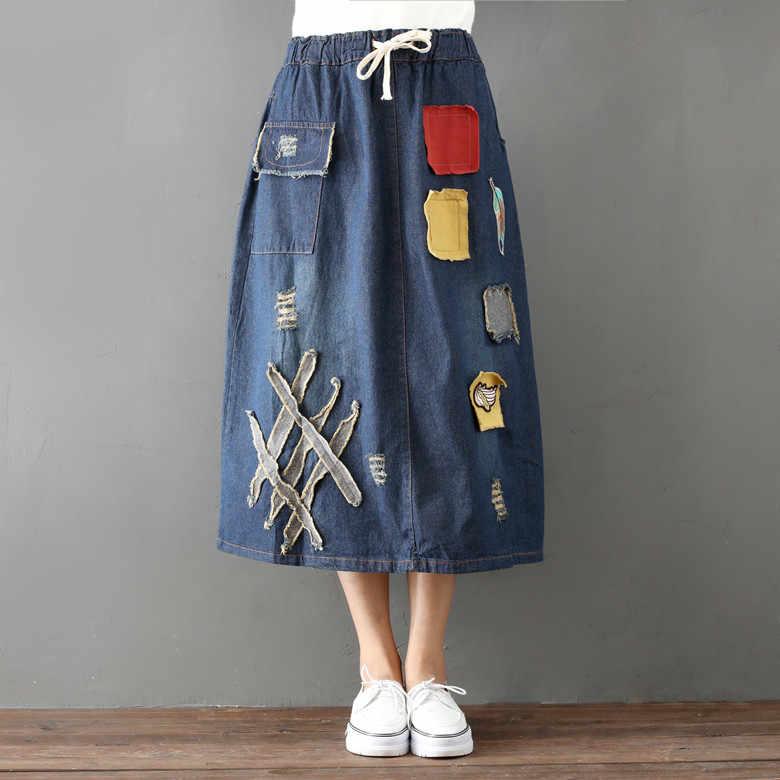 db0a03b4c77 Женская опрятная длинная джинсовая юбка 2018 Весна новая Мори девушка с  высокой талией Повседневная винтажная заплатка