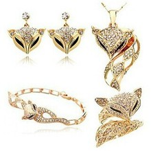 JS S025 Fox 4-Piece Jewelry Sets High Quality Gold Color Fine Jewelry Set Nickel Free Shamballa Set(China)