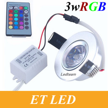 85~265V 3W RGB led light lamp colorful led Downlight Recessed downLamp Bulb ceiling lamp Spot light with Remote Control CE&ROHS(China)
