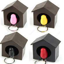 1Set Bird Nest Sparrow House Key Chain Ring Chain Wall Hook Holders Plastic Whistle