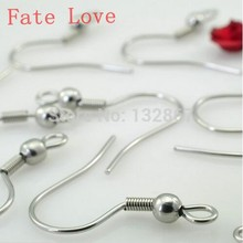 Fate Love Free Shipping 500pcs High quality shiny Stainless steel french hook ear wires Earring Hook DIY jewelry accessories