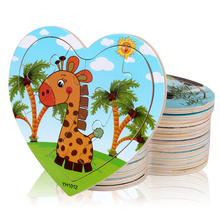Heart Shape Cartoon Wood Puzzles Toy Education Jigsaw Puzzle For Children(China)