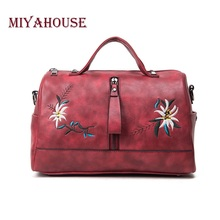 Miyahouse Floral Embroidery Design Women Boston Handags PU Leather Female Shoulder Bag Famous Brand Ladies  Messenger Bag
