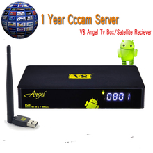 Satellite Receiver FreeSat V8 Angel+1 Year CCCam for Europe/Indian Android DVB S/S2T2/C Combo Support CCCAM+V8 mini WIFI Decoder