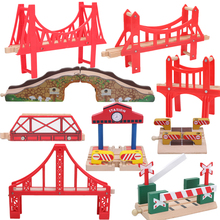 25styles Wooden Bridge Bus Station Wooden Train Tracks Set Train Accessories Track Pieces Blocks Toys bloques de construccion(China)