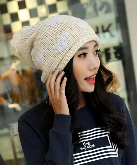 European and American fashion love double knit wool hat Thermal  winter female outside sport cap 8color 1pcs brand new arriveОдежда и ак�е��уары<br><br><br>Aliexpress