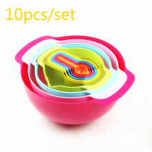 10PCS/SET Fruits And Vegetables PP Salad Bow Multifunctional Storage Rainbow Salad bowl DIY Baking Tools Measuring Cup Spoon