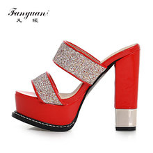 2017 New Sexy High Heels Flip Flops Summer Sweet Mix color Shoes Round toe Platform Open toe Sandals for Women(China)