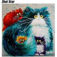 Hot Colorful Cat Diy 5D Diamond Painting Cross Stitch Full Diamond Embroidery Home Decor Square Drill Animal Series Best Gift zx(China)