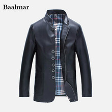 Men's Leather Jackets Spring and Autumn Slim Fit Faux Leather Jacket Casual Coats Stand Collar Men PU Leather Large Size XXXL