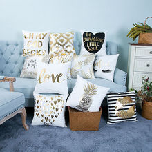 Creative Gilding Gold Cushion Cover Short Plush Sofa Waist Throw Pillow Case Cover Letter Pineapple Love Heart GI892880(China)