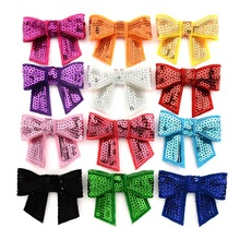 1PCS Embroideried Sequin Bows WITHOUT CLIP Girl Hair Accessory Bowknot applique Bow For DIY Headband Semi-finished Products 2017