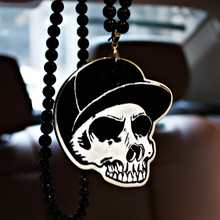 New York Yankees NY Cap Skull Badge Hip Hop Pendant Car Styling JDM Interior Rearview Mirror Ornament Beads Necklace Charm(China)