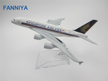 16cm Metal Air Singapore Airlines Airplane Model Airbus 380 A380 9V-SKA Airways Plane Model w Stand Aircraft Craft(China)