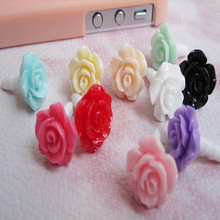 Wholesale 1000pcs Lovely rose Dust plug for iphone dust cap for 3.5mm plug mobile phone free shipping