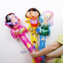 Snow white Dora Elsa Stick Balloons 20pcs Princess Clappers hand Ballon With Bell Air Inflatable Globos Pary Supplies kids Toys(China)